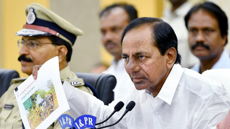 Telangana Chief Minister K. Chandrashekhar Rao addresses media persons in Hyderabad after an emergency meeting to review preparedness against  coronavirus .