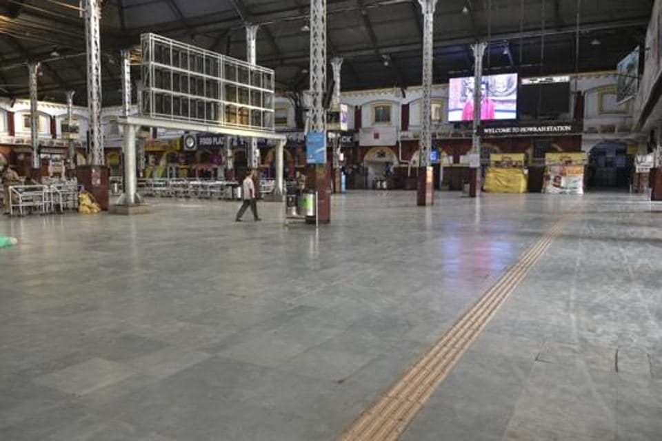 A deserted view of the Howrah station during the first day of lockdown imposed by the state government to control the spread of coronavirus, in West Bengal on Monday, March 23, 2020.