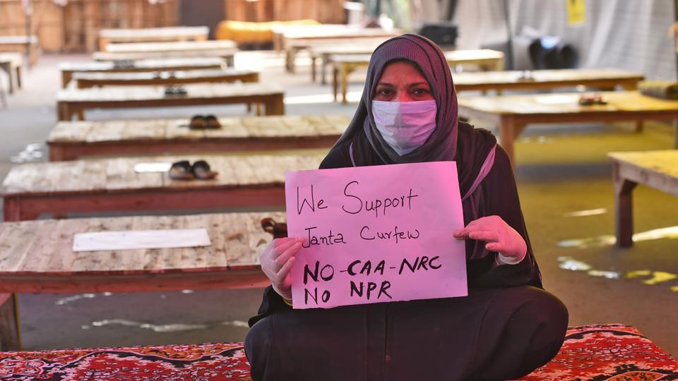 Protesters at the sit-in site of protests against the CAA, NRC and NPR at Shaheen Bagh in New Delhi on March 22, 2020.