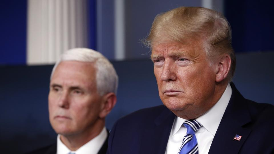 USPresident Donald Trump and Vice President Mike Pence during a briefing about the coronavirus in the James Brady Briefing Room, on Monday.