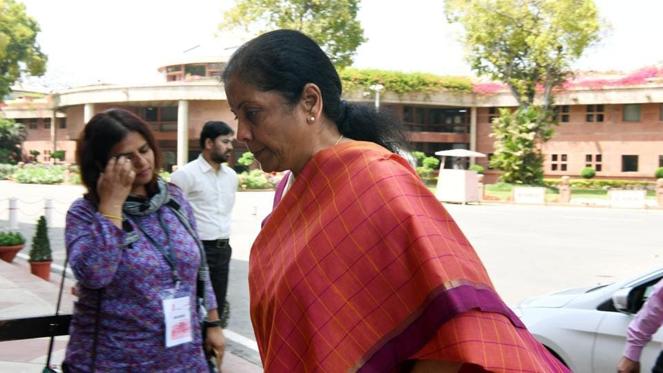 Finance Minister Nirmala Sitharaman arrives at Parliament house during the Budget session, in New Delhi on Monday.
