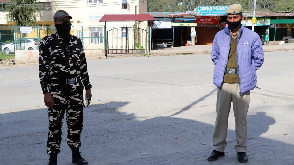 Police personnel patrolling in Mandi town on Tuesday.