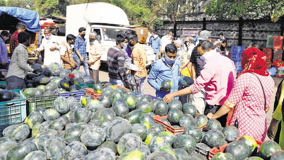 Rush at Market Yard as the wholesale fruits and vegetables market opened after three days on Monday.