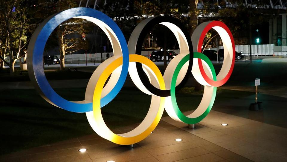 A general view of Olympic rings following an outbreak of the coronavirus disease.