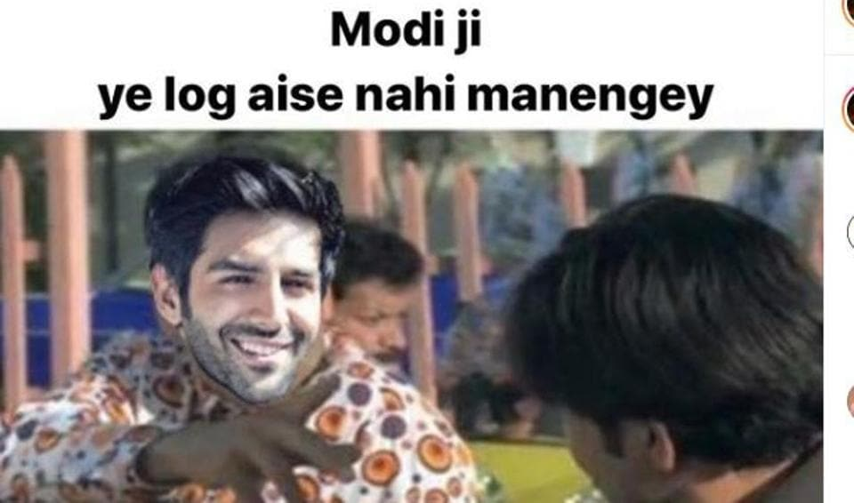 Kartik Aaryan shares a meme on people gathering in crowds despite the call for complete lockdown.