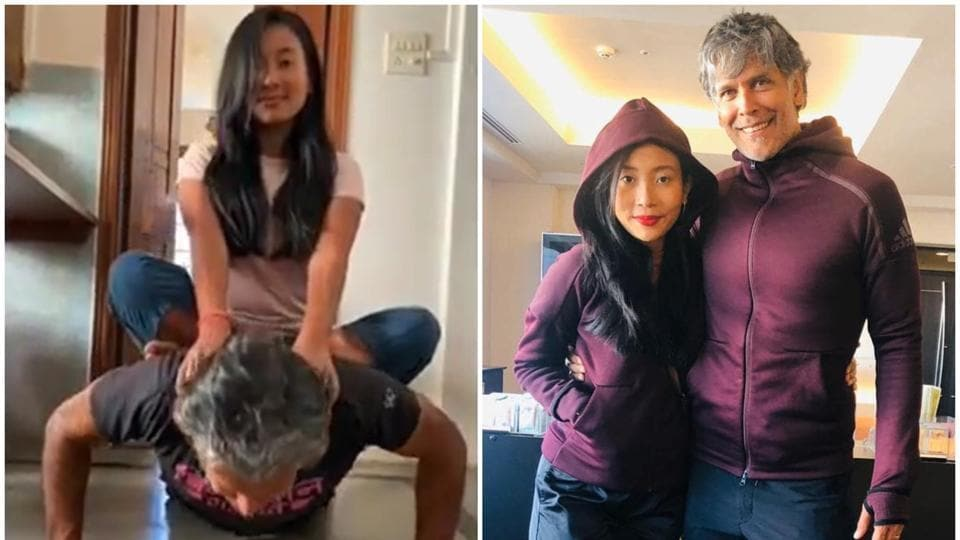 Milind Soman does push-ups with Ankita Konwar on his back, says 'Don't try lifting your wife as your... thumbnail