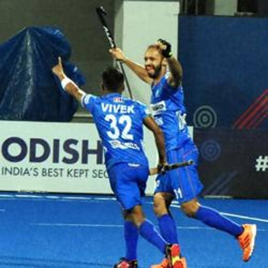 Bhubaneswar: Indian hockey players celebrate during their match against Belgium in the FIH Pro League at the Kalinga Hockey Stadium in Bhubaneswar, Saturday, Feb. 8, 2020. India won the match 2-1. (PTI Photo) (PTI2_8_2020_000299B)