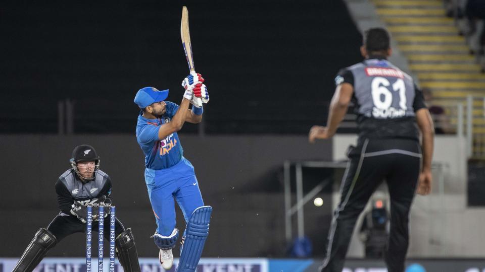 India's Shreyas Iyer bats.