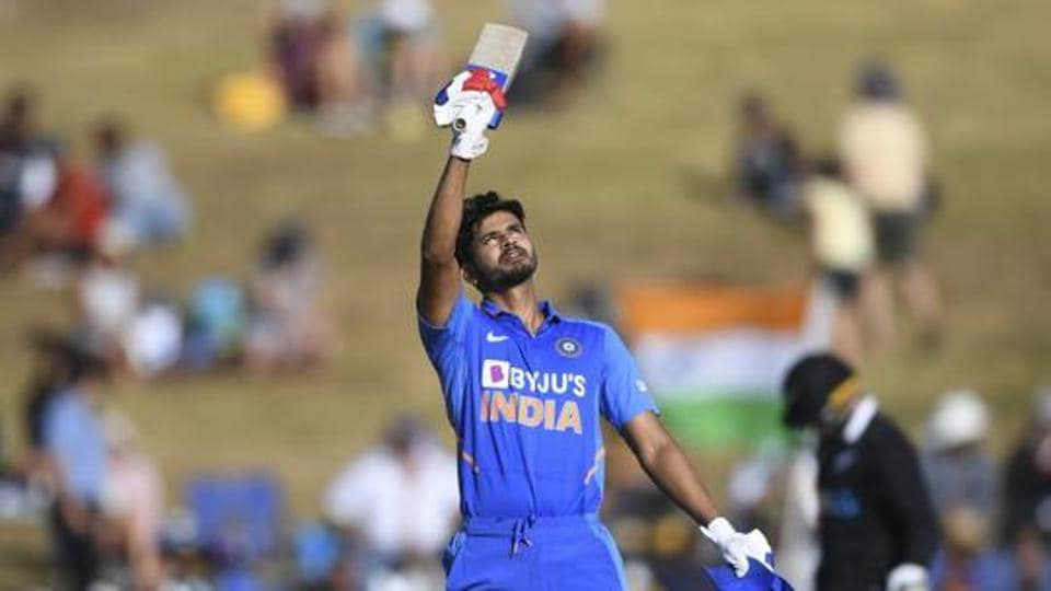 India's Shreyas Iyer celebrates his century.