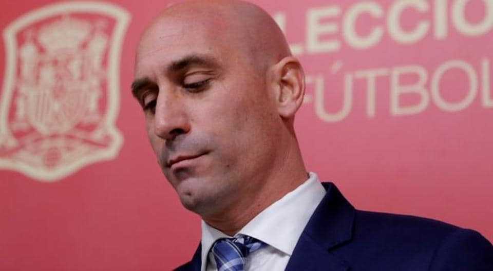 Spanish football federation president Luis Rubiales during the press conference.