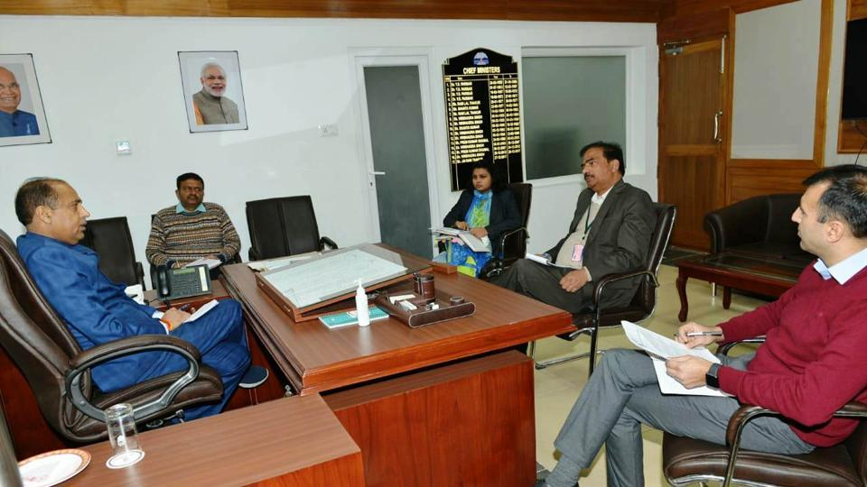 Chief minister Jai Ram Thakur presiding over a meeting with of senior officials to review availability of essential commodities at fair price shops in state