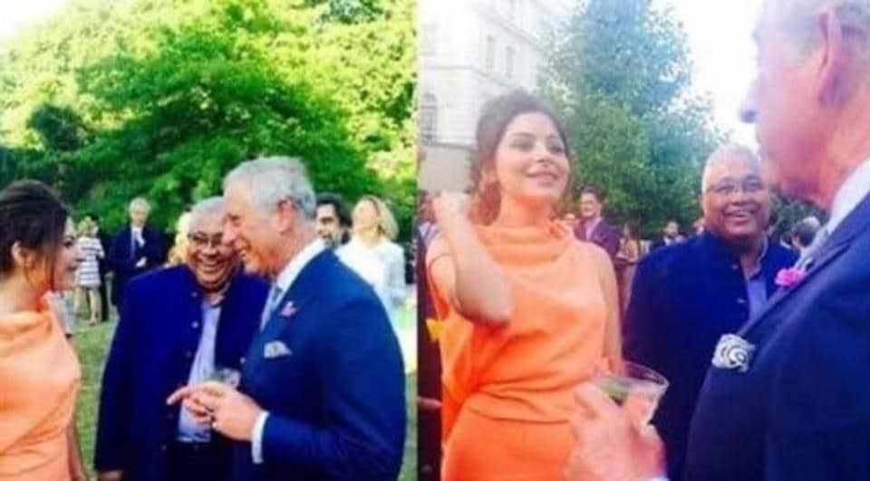 Kanika Kapoor with Prince Charles at an event.