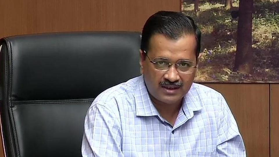 Delhi Chief Minister Arvind Kejriwal addressing a press conference on Thursday on steps taken by the government to check the spread of coronavirus disease Covid-19.