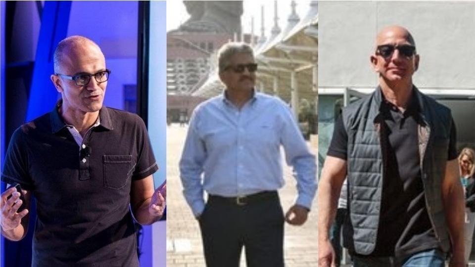 Left to Right: Microsoft CEO Satya Nadella, Mahindra Group CEO Anand Mahindra and Amazon CEO Jeff Bezos.