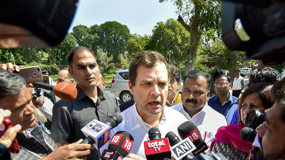 Congress leader Rahul Gandhi speaks to media persons at Parliament during the ongoing Budget Session, in New Delhi.