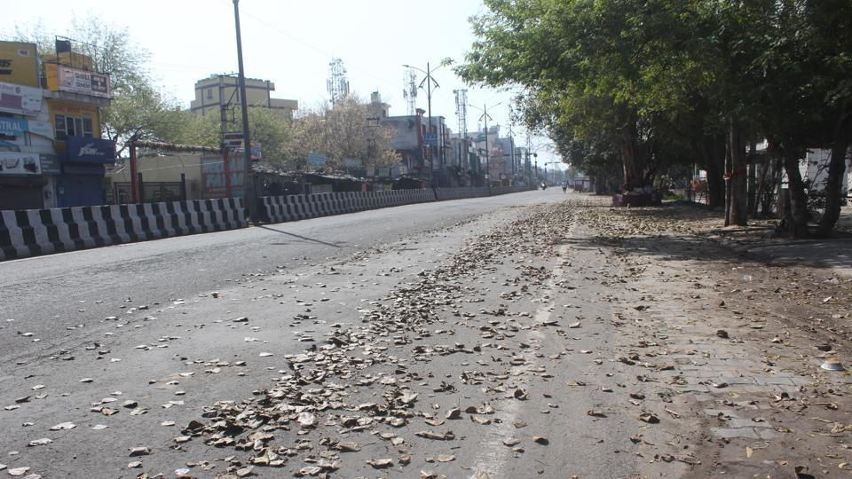 Deserted Old Railway road in Haryana's Gurugram during the first day of national lockdown imposed by PM Narendra Modi to curb the spread of coronavirus.