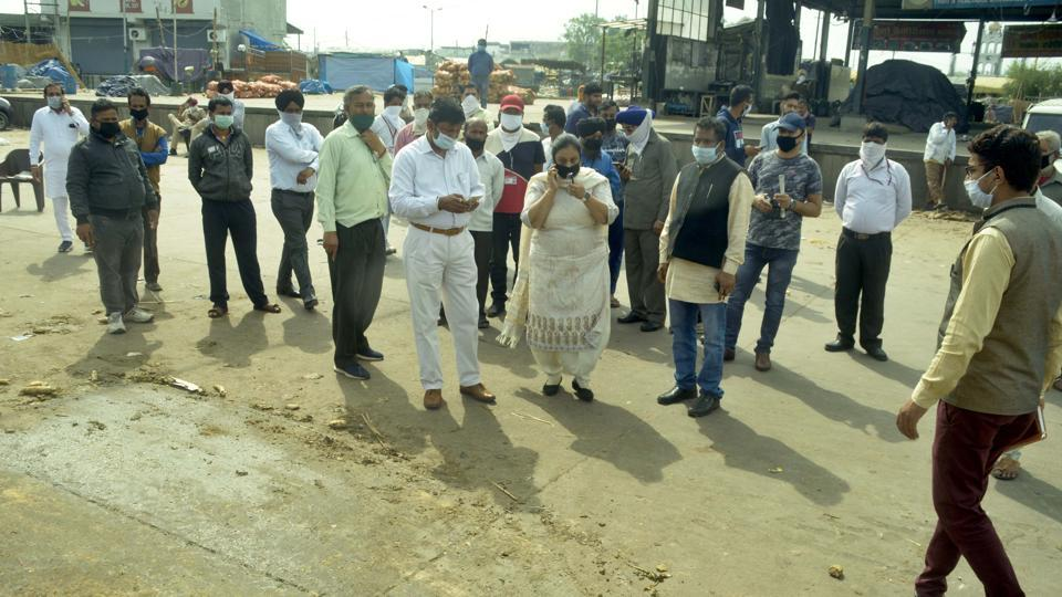 Market committee chairman Darshan Lal Baweja (in white) during an inspection at vegetable market in Ludhiana on Thursday.