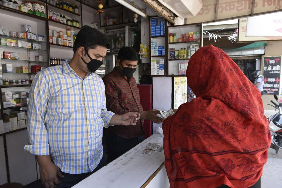 A medical store operational in Uttar Pradesh's Lucknow on the first day of the 3-week national lockdown to check the spread of coronavirus.