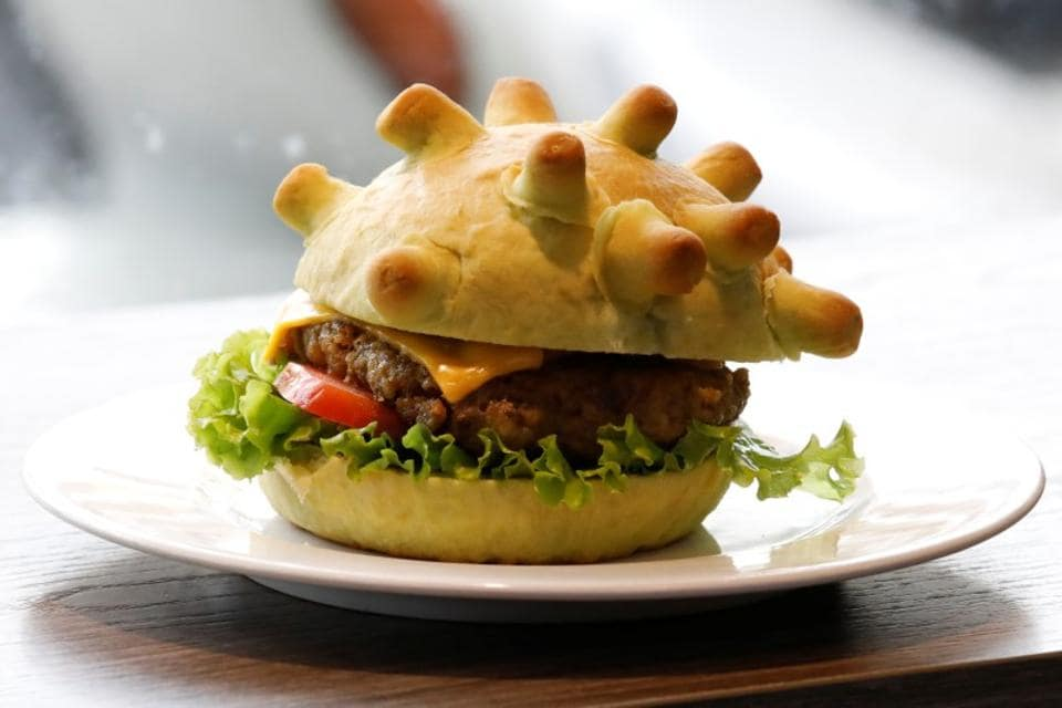 A burger shaped as coronavirus is seen at a restaurant in Hanoi, Vietnam on March 25, 2020.