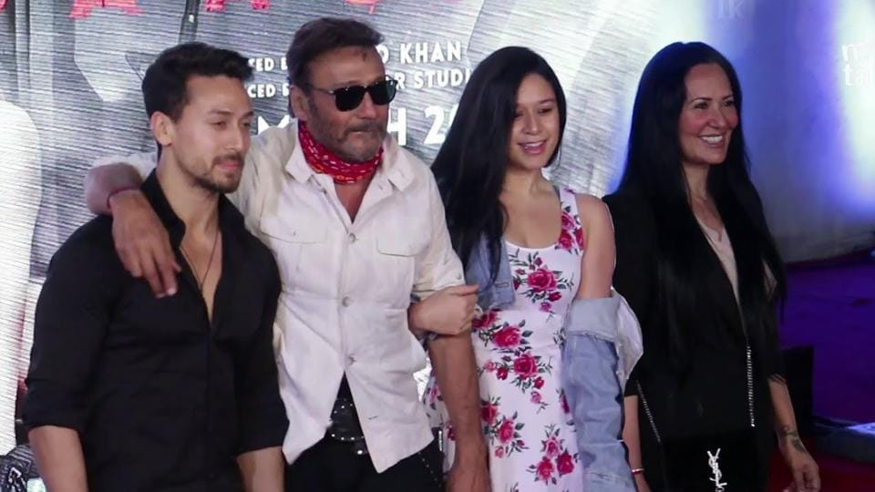 Jackie Shroff with his kids Tiger and Krishna and wife Ayesha.