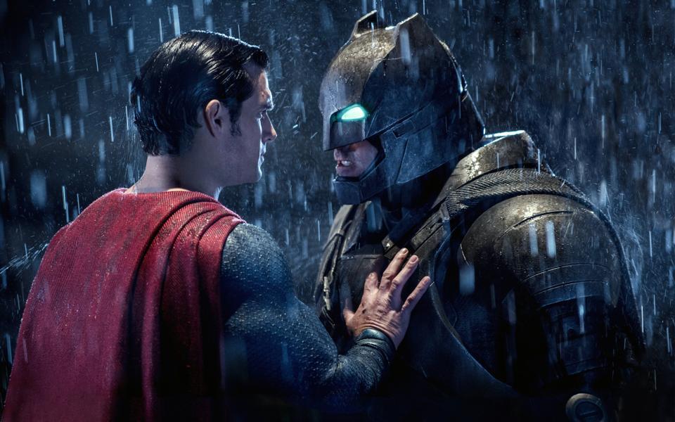 Henry Cavill as Superman and Ben Affleck as Batman.