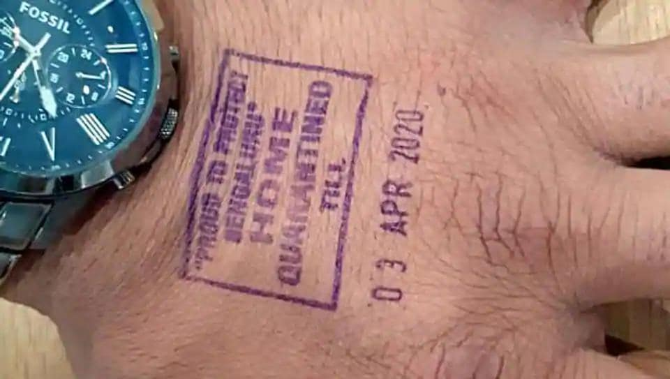 Home quarantine' stamping with indelible ink for international passengers has started at Kempegowda International Airport in Bengaluru. The stamp indicates the last day of quarantine.