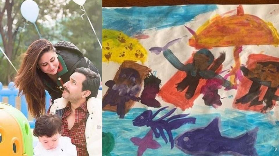 Kareena Kapoor has shared Taimur's latest painting of beach life.