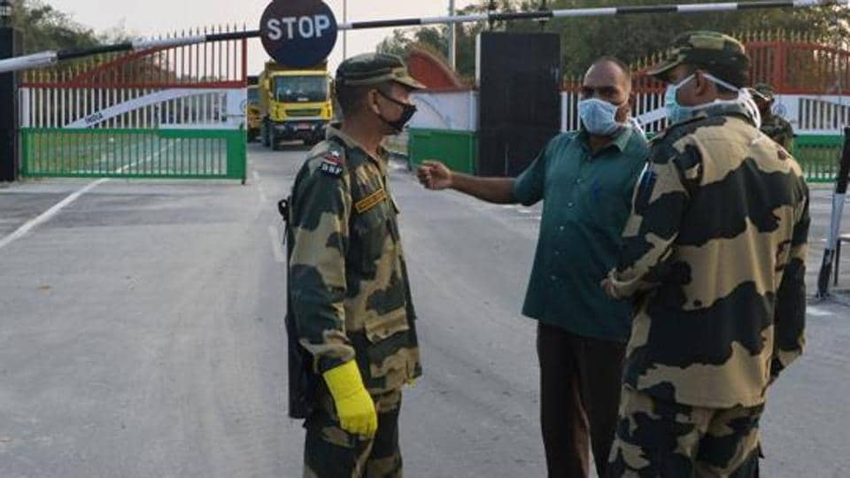 Border Security Force (BSF) wearing facemasks as a preventive measure against the spread of the COVID-19 coronavirus outbreak.
