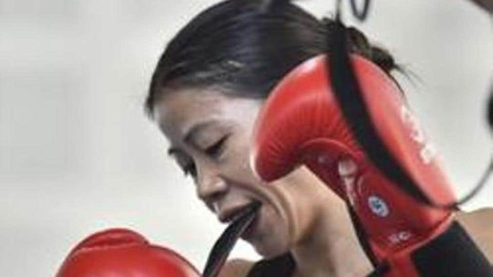 Boxer Mary Kom during the practice session at IG Stadium, in New Delhi