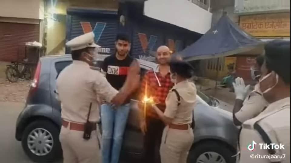 Twitter user @riturajaaru7 shares various videos of police in Bilaspur, Chhattisgarh.