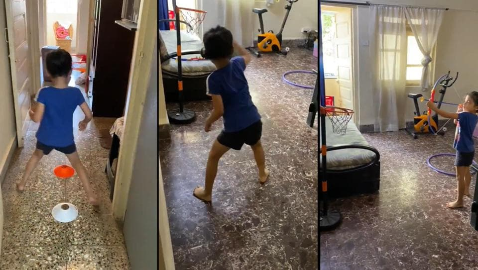 """""""Keeping the little one busy with a home obstacle course,"""" Viren Rasquinha tweeted."""