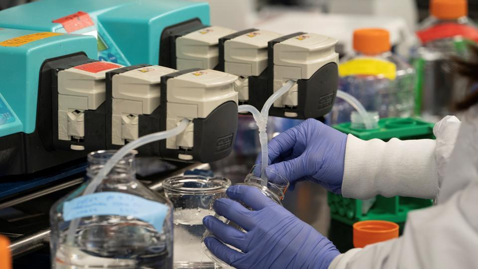 A scientist conducts research on a vaccine for the novel coronavirus (COVID-19) at the laboratories of RNA medicines company Arcturus Therapeutics in San Diego, California.