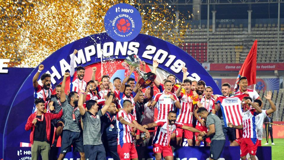 Players of ATK Kolkota celebrate after winning the 6th edition of the Indian Super League.