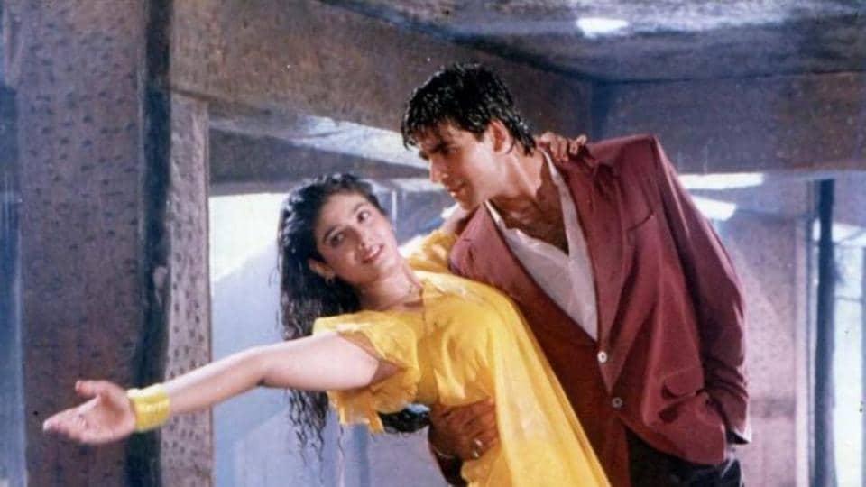 Raveena Tandon and Akshay Kumar in a still from the song.