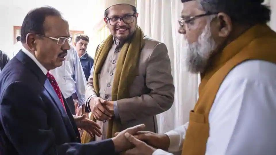 National security advisor Ajit Doval is on a first name basis with virtually all the Muslim ulemas and spends time with them to form a national strategy for India.(PTI)