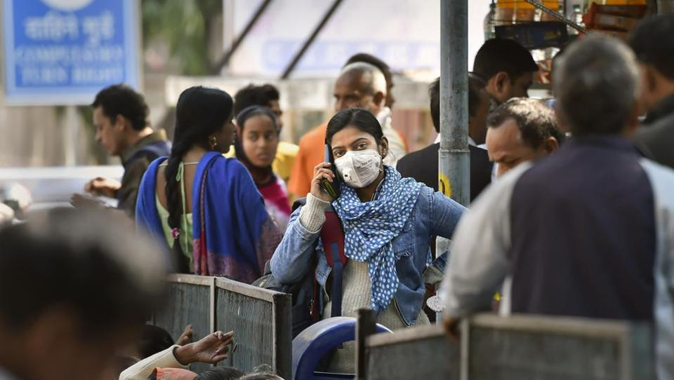 A young woman wearing a protective mask in the wake of novel coronavirus outbreak, Delhi, March 2020.