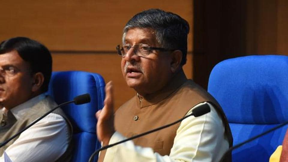 Union law minister speaks to the media.