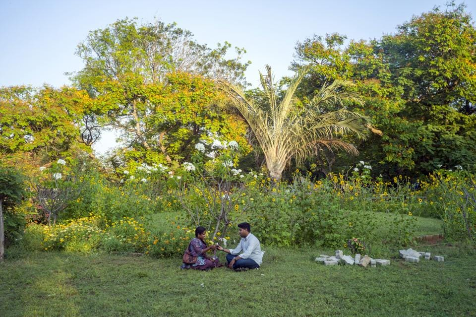 Definitely not love in the time of corona:A couple in the Botanical Gardens, Pondicherry, in an earlier era.