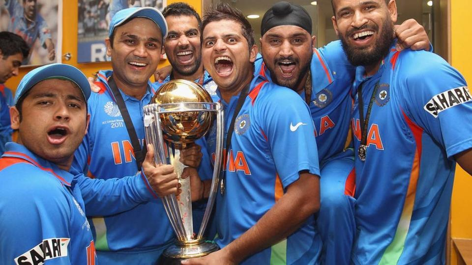 Team India celebrating the world cup win