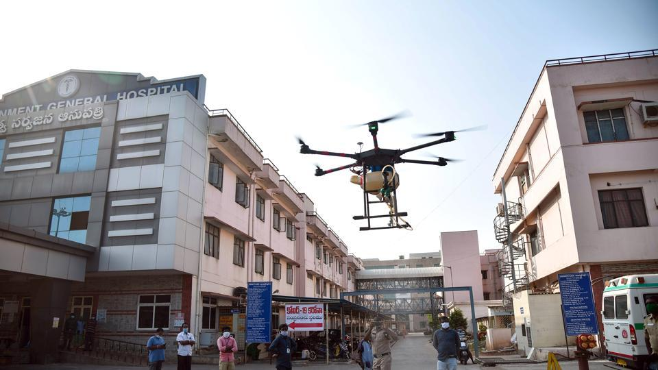 A drone sprays disinfectant  in the premises of Government General Hospital in Vijayawada.