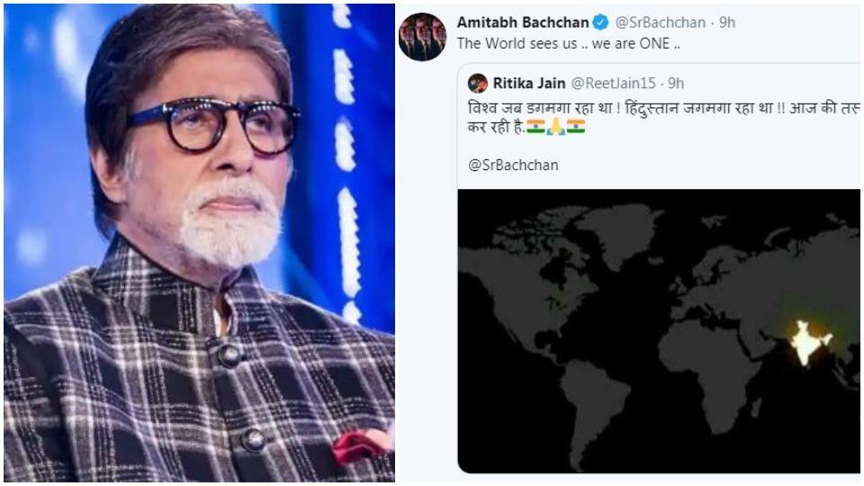 Amitabh Bachchan shares pic of glowing India on world map after 9 pm 9 minutes, Twitter says 'fake pic' – bollywood