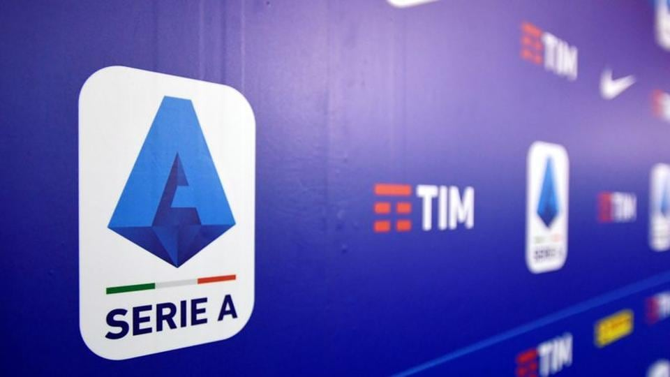 A logo of Italy's Serie A is seen in Milan.