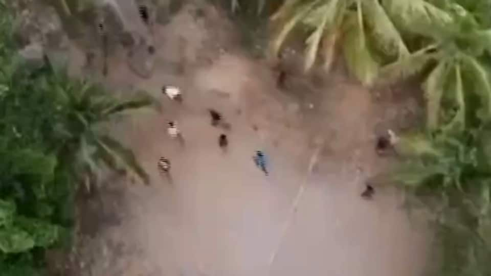 Image taken from drone of people flouting lockdown in Kerala.