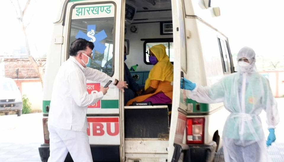 A corona patient being taken for treatment on day thirteenth of the 21 day nationwide lockdown imposed to curb the spread of coronavirus in India.