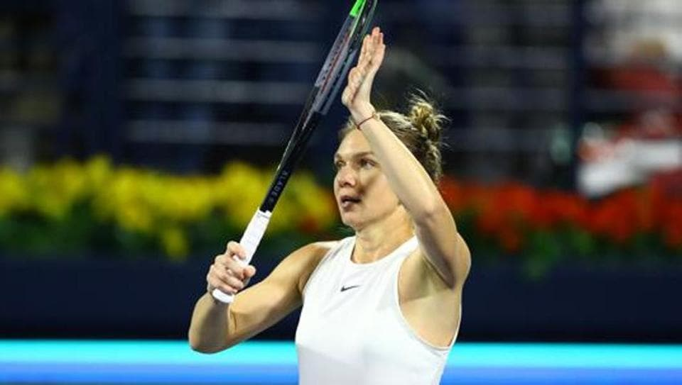 Romania's Simona Halep celebrates winning her quarter final match against Belarus' Aryna Sabalenka.