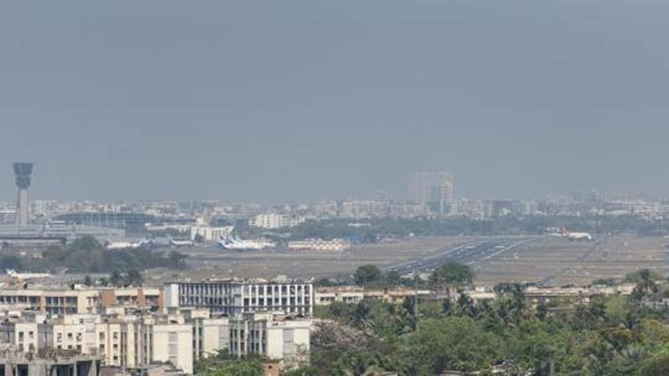 As the air quality gets better and the pollution level decreases due to the lockdown, the international airport which is usually covered in haze is now clearly visible from Tilak nagar, Mumbai, India, on Thursday, April 02 2020.