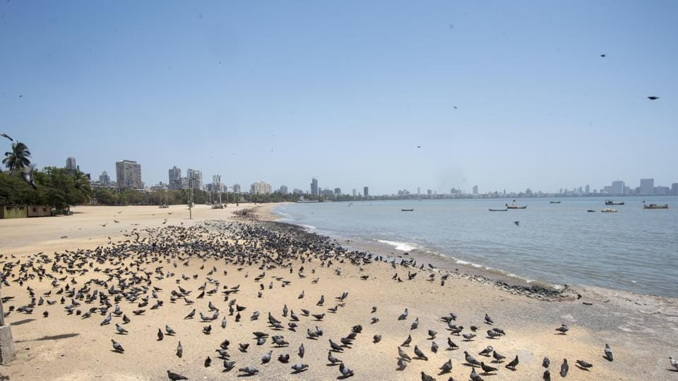 Deserted view of Girgaum chowpatty during nationwide lockdown, imposed in the wake of COVID 19 pandemic in Mumbai, India, on Wednesday, April 8, 2020.