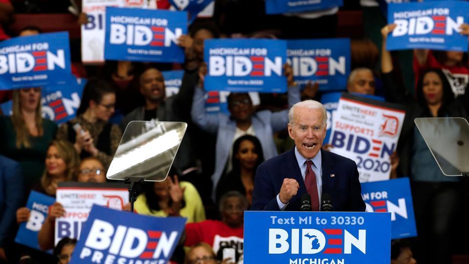 Democratic presidential candidate Joe Biden speaks at a rally, Detroit, Michigan, March 9, 2020