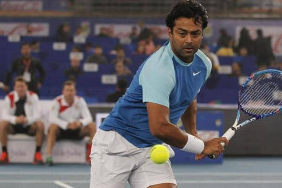 Leander Paes in action.