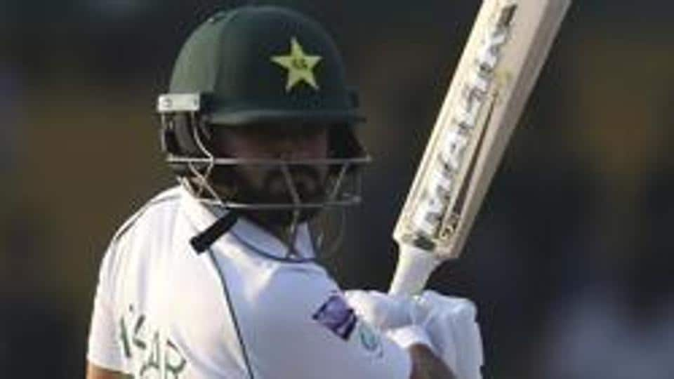 Pakistani captain Azhar Ali hits a boundary.